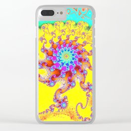 Tropical Octopus Fractal Clear iPhone Case