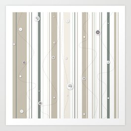 sewing lines and buttons  - grey and beige Art Print