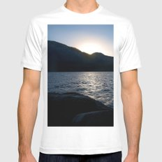 Fallen Leaf Lake at Sunset Mens Fitted Tee MEDIUM White