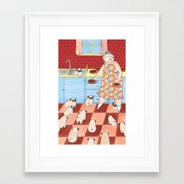 Pug Lady Framed Art Print