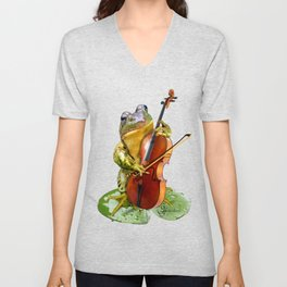 Realistic Print of Frog Playing Cello Unisex V-Neck