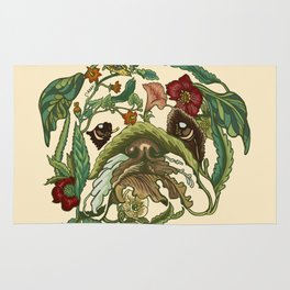 Botanical English Bulldog Rug
