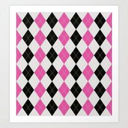 Argyle Pink White Black Pattern Art Print