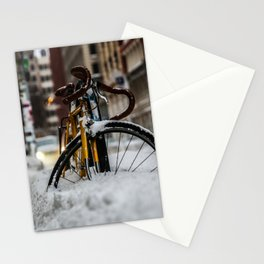 Bike stuck in snow Stationery Cards