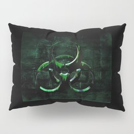 Green Grunge Biohazard Symbol Pillow Sham