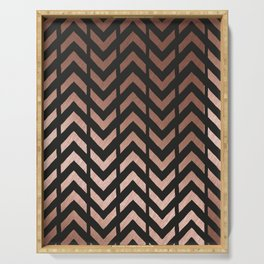 Rose gold and black chevron Serving Tray