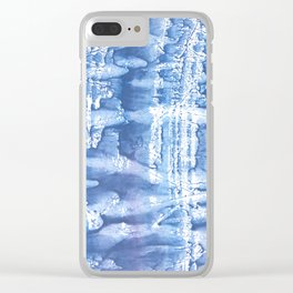 Steel blue blurred aquarelle Clear iPhone Case