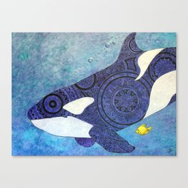 The Traveler Orca and Fish Canvas Print
