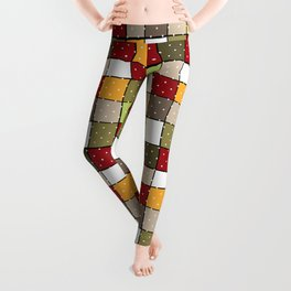 Retro Squares with polka dots vintage colors geometric shapes Leggings