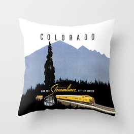 Union Pacific Train poster 1936 - Retouched Version Throw Pillow