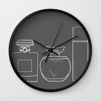 perfume Wall Clocks featuring Perfume by Illustrated by Jenny