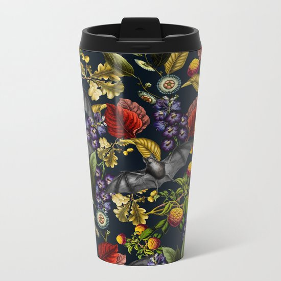 Flying Fox and Floral Pattern Metal Travel Mug
