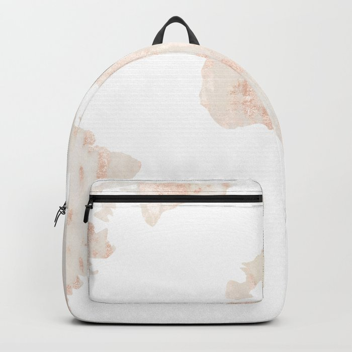 Marble World Map Light Pink Rose Gold Shimmer Backpack