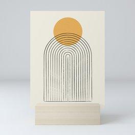 Gold Sun rainbow mountain Mini Art Print