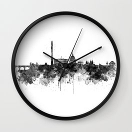 Washington DC Skyline Black and White Wall Clock