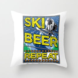 Funny Ski Beer Repeat Skiing & Drinking Skiers Throw Pillow