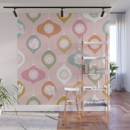 Retro Christmas Baubles Pattern on Pastel Pink Wall Mural
