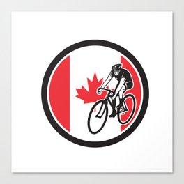 Canadian Cyclist Cycling Canada Flag Icon Canvas Print