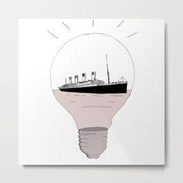 Ship in a light bulb . Metal Print