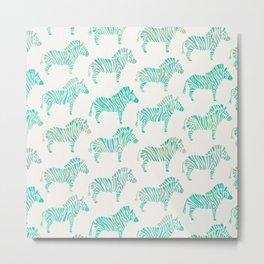 Zebras – Mint Palette Metal Print