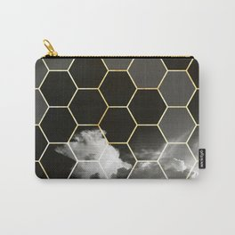 honeycomb clouds // black & white & golden Carry-All Pouch