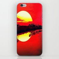 duvet cover iPhone & iPod Skins featuring Sunset duvet cover by customgift