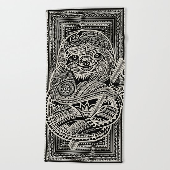 Polynesian Sloth Beach Towel