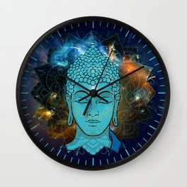 Blue Face of Buddha in the Galaxy Wall Clock