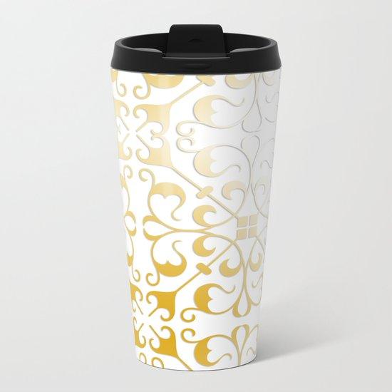 Damask Gold Metal Travel Mug