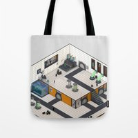 monster inc Tote Bags featuring Monster Labs Inc. by Allen Amin