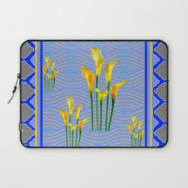 Shades of Blue Yellow Calla Lily Art Laptop Sleeve