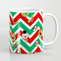 cartoons Mugs featuring Festive Christmas Cartoons on Chevron Pattern by Kirsten Star