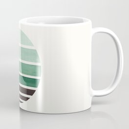 Deep Green Mid Century Modern Minimalist Circle Round Photo Staggered Sunset Geometric Stripe Design Coffee Mug