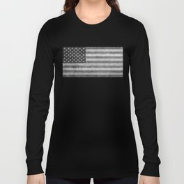 USA flag - Grayscale high quality image Long Sleeve T-shirt