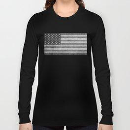 USA flag - Grayscale high quality image Long Sleeve T-shirt