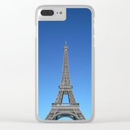 Paris Eiffel tower black and white with color Clear iPhone Case
