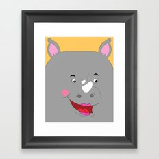 Rhino Female in Love Looking to the Right Framed Art Print