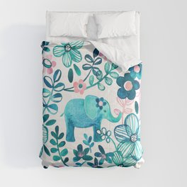 Dusty Pink, White and Teal Elephant and Floral Watercolor Pattern Comforters