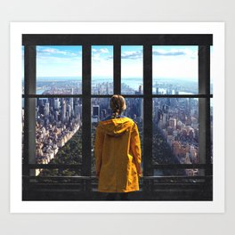 New York City Skyline and Raincoat Art Print