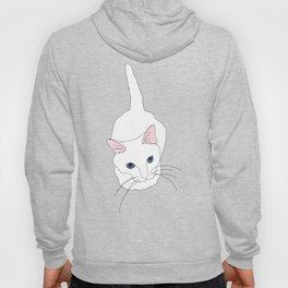 Kitty cat Illustrated Print White Pink Blue Hoody