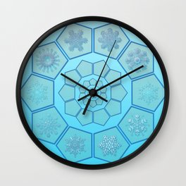 Polygons with snowflakes in gradient blue Wall Clock