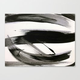 Brushstroke 9: a bold, minimal, black and white abstract piece Canvas Print