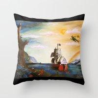 neverland Throw Pillows featuring Neverland by Art by Terrauh