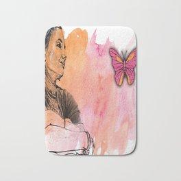 GIRL BUTTERFLY Pop Art Bath Mat
