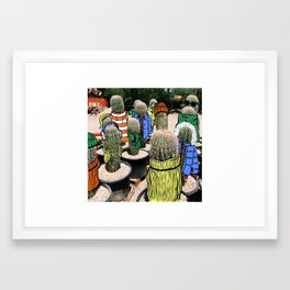Saguaros in Sweaters Framed Art Print