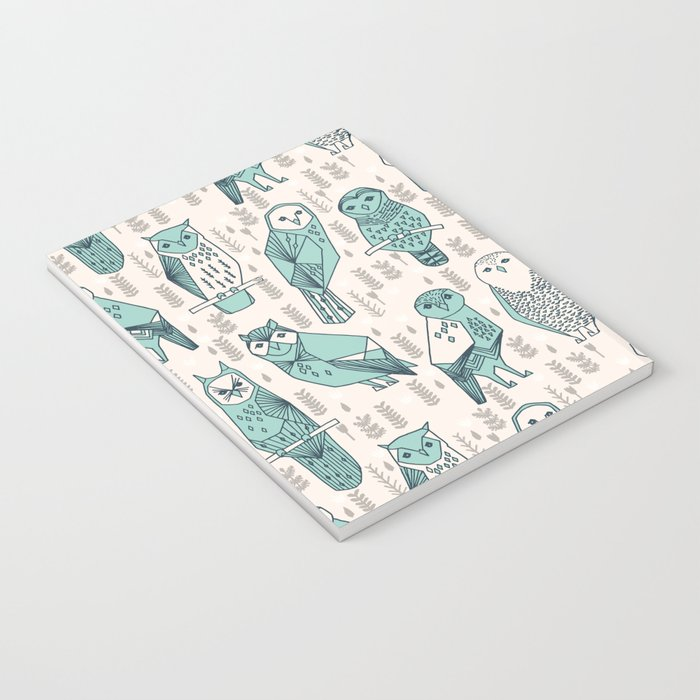 Parliament of Owls - Pale Turquoise by Andrea Lauren Notebook