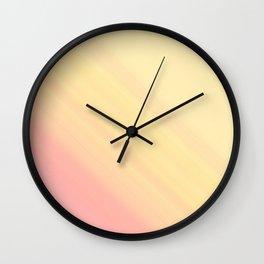 Pastel Ombre Millennial Pink Yellow Diagonal Stripes | Peach, apricot gradient pattern Wall Clock
