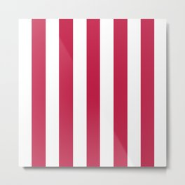 Maroon (Crayola) violet - solid color - white vertical lines pattern Metal Print