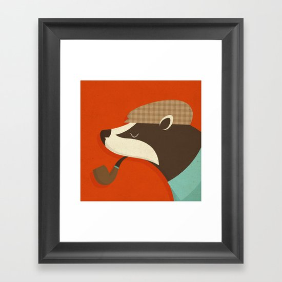 Country Badger Framed Art Print