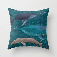 whales Throw Pillows featuring Whales by Stephanie Fizer Coleman